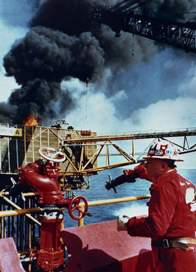 a fire on the oil platform
